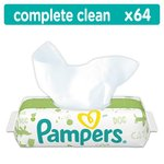 Pampers Natural Clean Fragrance Free Baby Wipes Single Pack 64 per pack