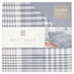 Turin Grey Check 100% Cotton Double Bed Set