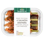 Morrisons Salmon Skewers with Soy Chilli & Lime 214G